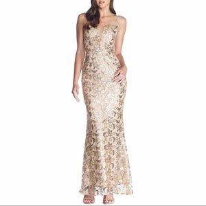 Dress the Population Mara Gold Lace & Sequin Gown